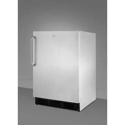 Summit Appliance Refrigerator with Crisper Glass Cover in Stainless Steel