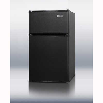 Summit Appliance Refrigerator Freezer with Crisper Cover Glass Type in Black