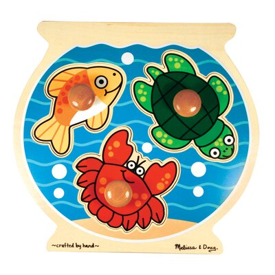 Melissa and Doug Fish Bowl Jumbo Wooden Knob Puzzle