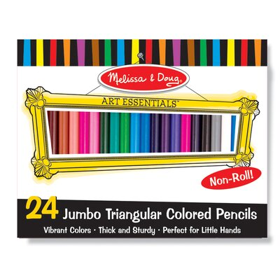 Melissa and Doug Jumbo Triangular Colored Pencils, 24 Pack