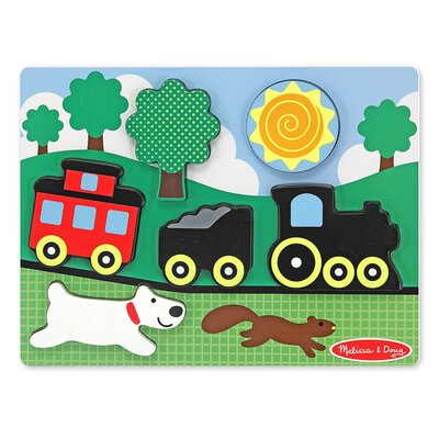 Melissa and Doug Chunky Scene Caboose Puzzle in Red