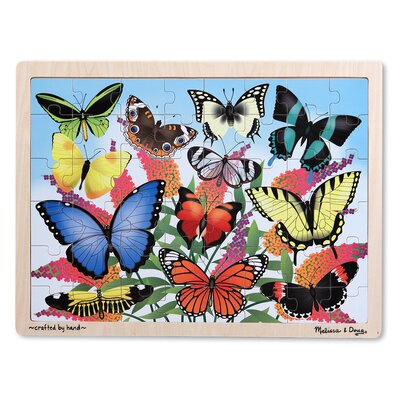 Melissa and Doug Butterfly Garden Wooden 48 Piece Jigsaw Puzzle Set