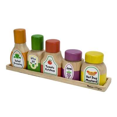 Melissa and Doug Wooden Magnetic Kitchen Bottle Collection