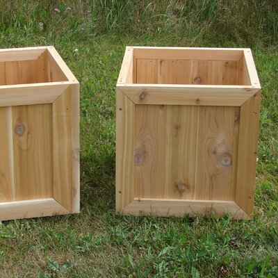 Phat Tommy Square Western Cedar Garden Planter Box Set (Set of 2)