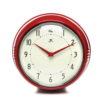 Infinity Instruments Retro Round Metal Wall Clock In Red