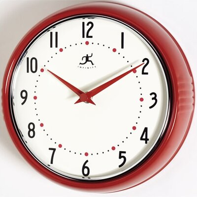 Retro Round Metal Wall Clock In Red