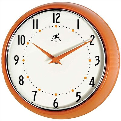 Infinity Instruments Retro Round Metal Wall Clock In Orange