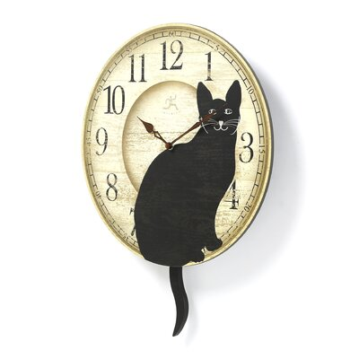 "Infinity Instruments 14"" Wagging Pendulum Cat Wall Clock"