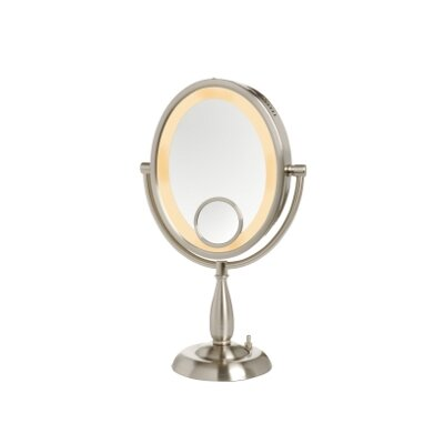 Jerdon 10X Nickel Oval Lighted Vanity Mirror