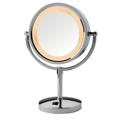 Dual Sided 5x Halo Lighted Vanity Mirror with Built-In Outlet