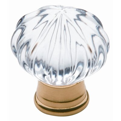 Fluted Crystal Ball Knob in Polished Brass