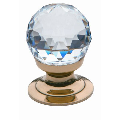 Cut Crystal Ball Cabinet Knob in Polished Brass