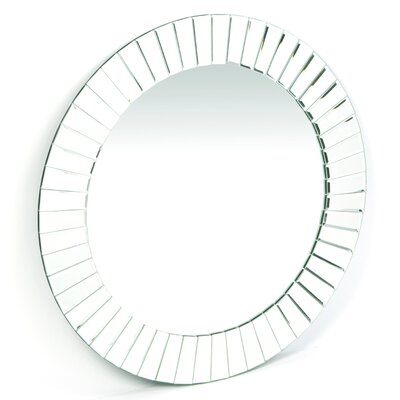 "Decor Wonderland 27.6"" H x 27.6"" W Fortune Modern Frameless Beveled Wall Mirror"