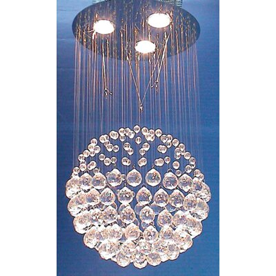3 Light Crystal Sphere Semi Flush Mount