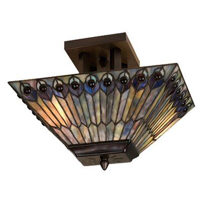 2 Light Peacock Oblong Semi Flush Mount