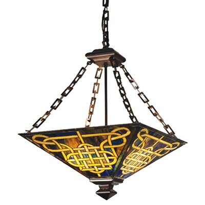 Meyda Tiffany Mission Knotwork 4 Light Inverted Pendant