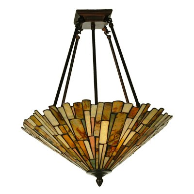 4 Light Deco Jadestone Delta Semi Flush Mount
