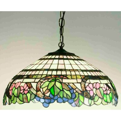 Tiffany Floral Handel Grapevine 3 Light Inverted Pendant