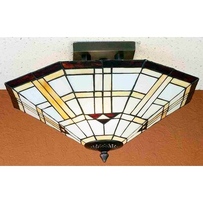 2 Light Mission Southwest Arrowhead Semi Flush Mount