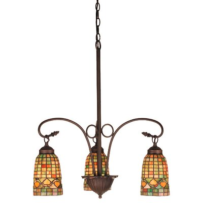 Victorian Lodge Tiffany Acorn 3 Light Chandelier