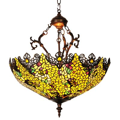 Victorian Tiffany Laburnum 3 Light Inverted Pendant