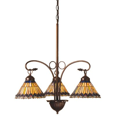 Meyda Tiffany Tiffany Jeweled Peacock 3 Light Chandelier