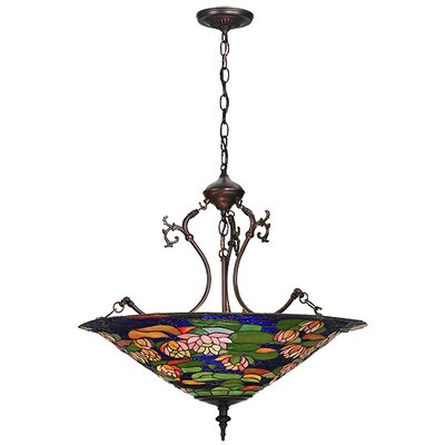 Tiffany Pond Lily 3 Light Inverted Pendant