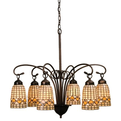 6 Light Victorian Tiffany Acorn Chandelier