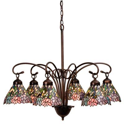 6 Light Victorian Tiffany Wisteria Chandelier