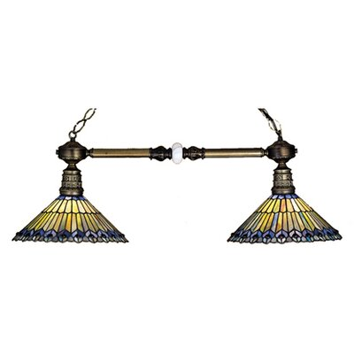 Meyda Tiffany Tiffany Jeweled Peacock 2 Light Kitchen Island Pendant