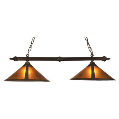 Rustic Van Erp Amber Mica 2 Light Kitchen Island Pendant