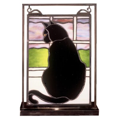 Meyda Tiffany Cat in Window Lighted Mini Tabletop Window