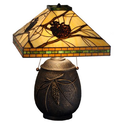Meyda Tiffany Lodge Tiffany Honey Pine Branch Mission Table Lamp