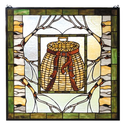 Meyda Tiffany Lodge Country Pack Basket Stained Glass Window