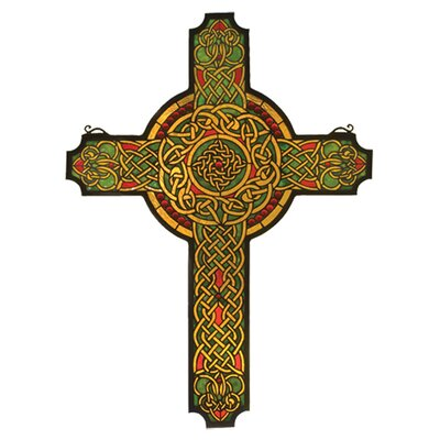 Meyda Tiffany Religious Jeweled Celtic Cross Stained Glass Window