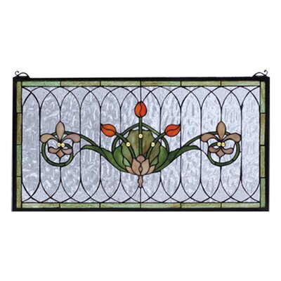 "Meyda Tiffany 14"" H Floral Nouveau Recreation Tulip and Fleurs Stained Glass Window"