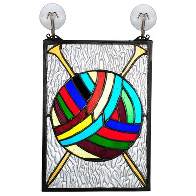 "Meyda Tiffany 6"" H Recreation Ball of Yarn with Needles Stained Glass Window"