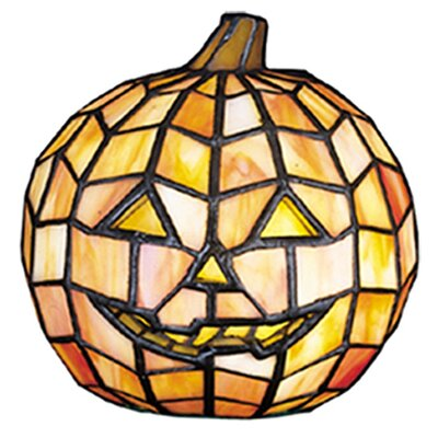 Jack O'Lantern Tiffany Glass Accent Table Lamp