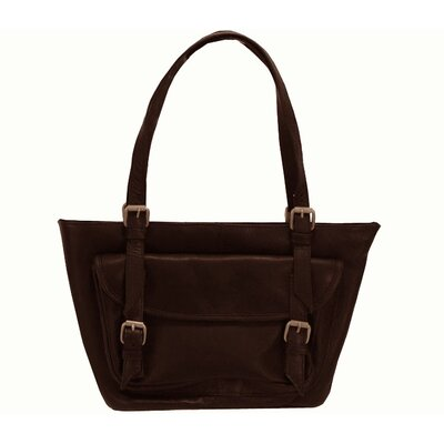 Latico Leathers Addison Large Top Zip Front Buckle Tote