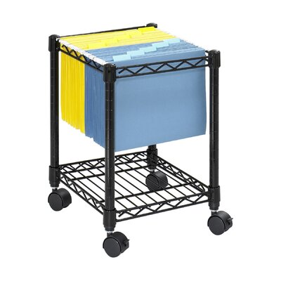 Safco Wire Compact Mobile File Cart in Black