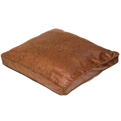 Faux Leather Pillow Dog Bed in Natural Vintage