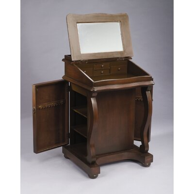 Two Door Jewelry Cabinet in Dark Brown