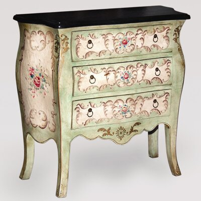 AA Importing Bombay Chest in Sea Foam Green/Antique White