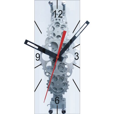 "Maples Clock 22"" x 8"" Large Moving Gear Wall Clock with Glass Cover"