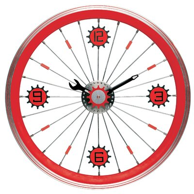 Bike Wall Clock with Aluminum Rim in Red