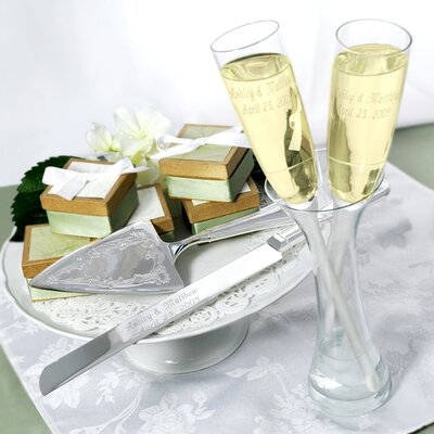 5 Piece Toasting Champagne Flutes in a Vase and Cake Server Set