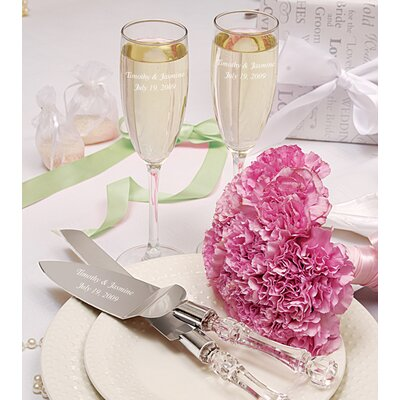 Simplicity Champagne Flutes and Cake Server Set (Set of 3)