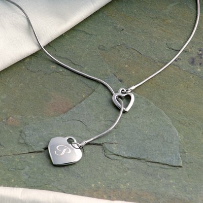Personalized Double Heart Lariat Necklace