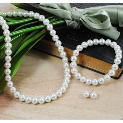 3 Piece Bridal Cultured Pearl Jewelry Set in White