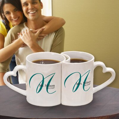 Cathys Concepts Gifts 10 oz. Personalized Heart Mug (Set of 2)